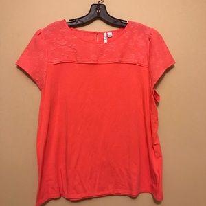Tops - Orange lace detailed blouse